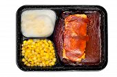picture of frozen tv dinner  - A TV dinner consisting of ribs mashed potatoes and corn isolated on white - JPG