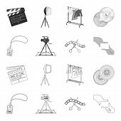 Badge, Operator Gesture And Other Accessories For The Movie. Making Movie Set Collection Icons In Ou poster