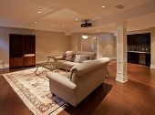 picture of home theater  - Modern home entertainment room in the basement - JPG