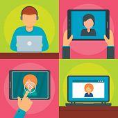 Webinar Training Online Banner Concept Set. Flat Illustration Of 4 Webinar Training Online Vector Ba poster