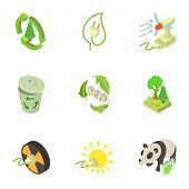 Pure Energy Icons Set. Isometric Set Of 9 Pure Energy Vector Icons For Web Isolated On White Backgro poster
