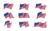 Set Of Us Flags Waving In The Wind. Flag Day Of United States Of America Background Design. Creative poster