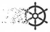 Dissolved Boat Steering Wheel Dotted Vector Icon With Disintegration Effect. Square Elements Are Arr poster