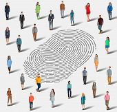 Identification By Fingerprint. The Search For A Person By Fingerprint. Identification Among A Large  poster