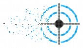 Dispersed Target Bullseye Dot Vector Icon With Disintegration Effect. Square Pieces Are Composed Int poster