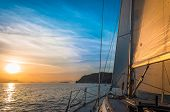 Peaceful Scene On The Sea With Beautiful Sky And Sail Boat poster