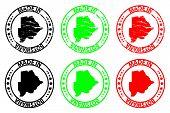 Постер, плакат: Made In Botswana Rubber Stamp Vector Botswana Map Pattern Black Green And Red