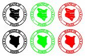 Постер, плакат: Made In Kenya Rubber Stamp Vector Kenya Map Pattern Black Green And Red