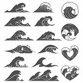 Ocean Waves Vector Set. Sea Storm Wave Isolated. Waves, Water Elements Set. Nature Wave Water Storm  poster