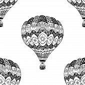 Vector Seamless Pattern Of Hot Air Balloon In Zentangle Style. Coloring Page Book Anti Stress. Black poster