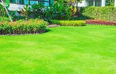 Landscaped Formal Garden, Front Yard With Garden Design, Peaceful Garden, Green Garden For The Backg poster