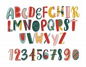 Modern Hand Drawn Latin Font Or English Alphabet For Children Decorated With Scrawl. Bright Letters  poster