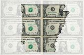 Outline Map Of Arkansas With Transparent American Dollar Banknotes In Background