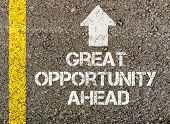 Great opportunity ahead, written on road surface poster