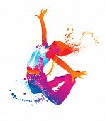 picture of rave  - The dancing girl with colorful spots and splashes on white background - JPG