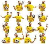 Brazilian Fan Celebrating On White Background. The Young Man In Soccer Football Uniform With Ball St poster