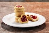 Heart Shaped Valentines Day Cookies With Jam. Shaped Biscuit Cookie poster