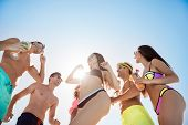 Low Angle Shot Of Chilling, Dancing Youth, Enjoying On Resort Beach Pool Sunny Disco, In Diverse Tre poster