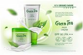 Design Cosmetics Product With Green Tea Extract Advertising For Catalog, Magazine. Vector Mock Up Of poster