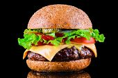 Big Tasty Hamburger Or Cheeseburger On Black Background With Grilled Meat, Cheese, Tomato, Bacon, On poster