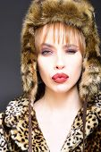 Winter Woman In Luxury Fur Coat And Hat. Beauty Fashion Model Girl In Leopard Fur Coat. Perfect Make poster