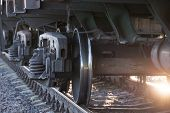 Wheels Of A Railway Train On Rails Close Up, Cargo Transportation poster