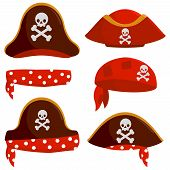 Vector Set Of A Pirate Captain Hats, Bandannas And Scarves. poster