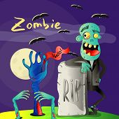 Halloween Poster With Smiling Zombie Near Rip Gravestone. Holiday Party Banner With Undead Man, Fest poster