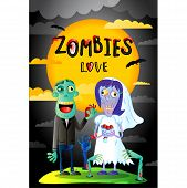 Zombies Love Poster With Funny Married Zombie Couple In Cartoon Style. Halloween Zombie Horror Fanta poster