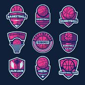 Basketball League Isolated Label Set. Basketball Tournament Sign, College Championship Symbol, Sport poster