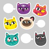 Cat Stickers For Notes. Communication In Cat Stickers. Six Colorful Set Of Cat Emotions Where You Ca poster