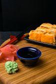 Hot Fried Sushi Roll With Salmon, Caviar, Shrimp, Cucumber, Avokado, Cheese. Sushi Menu. Japanese Fo poster