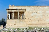 The Caryatid Porch Of The Erechtheum, Acropolis, Athens, Greece. poster