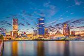 Milwaukee, Wisconsin, USA downtown city skyline on Lake Michigan at twilight. poster