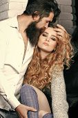 Couple In Love. Desire, Affection, Relationship, Intimacy Concept. Man With Beard Cuddle Woman Girl  poster