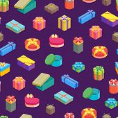 Cartoon Present Boxes Seamless Pattern Background Packaging Holiday Gift Concept Flat Design Style.  poster