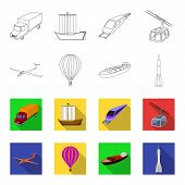 Постер, плакат: A Drone A Glider A Balloon A Transportation Barge A Space Rocket Transport Modes Transport Set