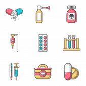 Remedy Icons Set. Cartoon Set Of 9 Remedy Vector Icons For Web Isolated On White Background poster
