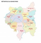 Metropolis Of Greater Paris Administrative And Political Vector Map poster