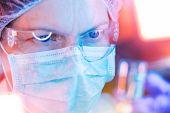 Medical Science Researcher Performing Scientific Test In Laboratory, Female Bioengineer Working On D poster