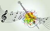 Music Colorful Background With Music Notes And Violoncello Vector Illustration Design. Music Festiva poster