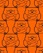 Grumpy Cat Pattern Seamless. Angry Pet Background. Vector Illustration poster