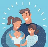 Vector Cartoon Illustration Of Family Portrait. Family Members Standing Together. Young Family: Todd poster
