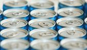 Fancy Metal Cans With Refreshing Drinks, In Macro Picture. Loads Of Unopened Soda Or Beer Cans. Cyli poster