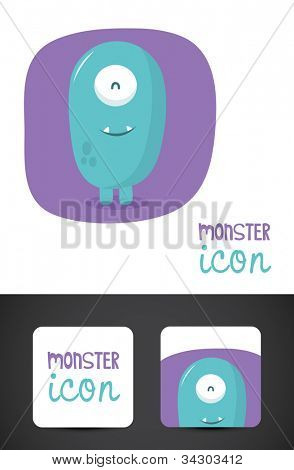 Cute, friendly monster icon and stylized business cards, EPS10 vector.