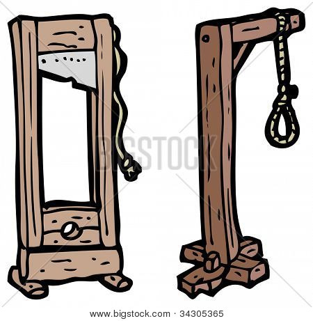 cartoon noose and guillotine