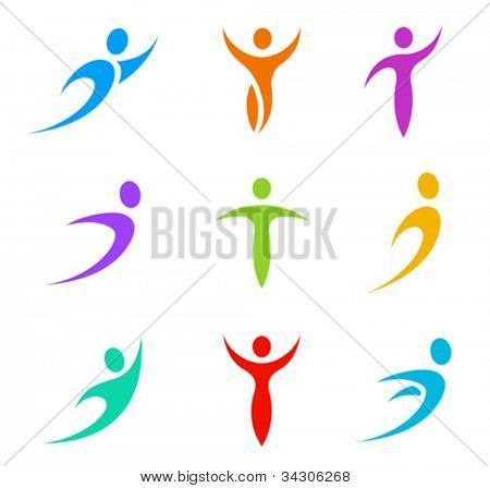 Human shapes. Abstract icon set. Flying, levitating, tending, rushing activity. Vector.