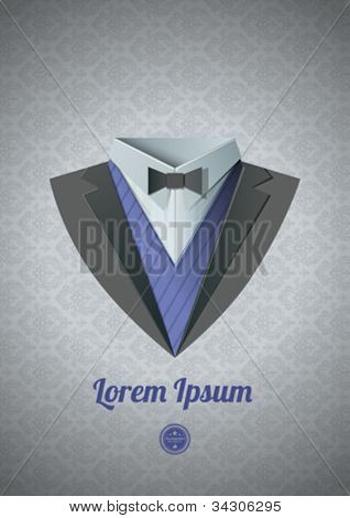 Luxury tuxedo. Origami Vintage theme. Dinner jacket Classic expensive theme. Vector.