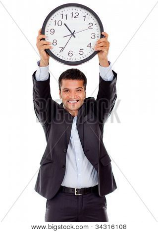 Businessman holding a clock - isolated over a white background