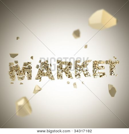 Word market broken into pieces background